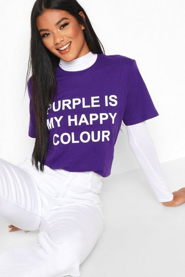 Womens Purple My Happy Colour Charity T-Shirt