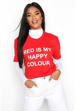 "Charity T-Shirt mit ""My Happy Colour""-Motiv, Rot"