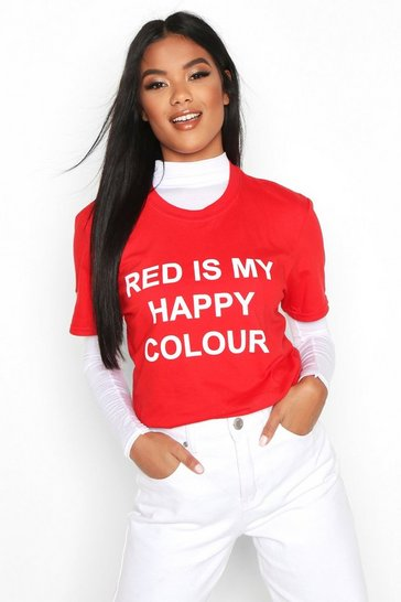 Womens Red My Happy Colour Charity T-Shirt