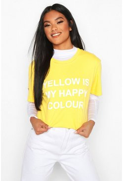 "Charity T-Shirt mit ""My Happy Colour""-Motiv, Gelb"