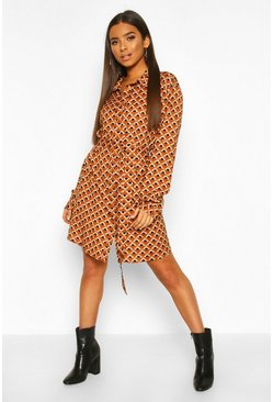 Bronze Satin Geo Print Belted Shirt Dress