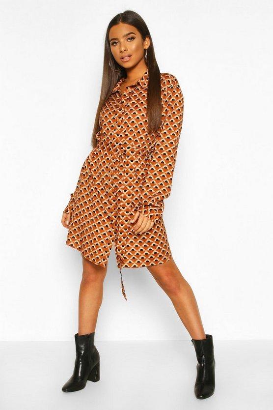 Satin Geo Print Belted Shirt Dress