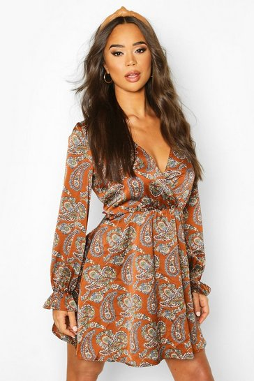 Womens Brown Satin Paisley Skater Dress