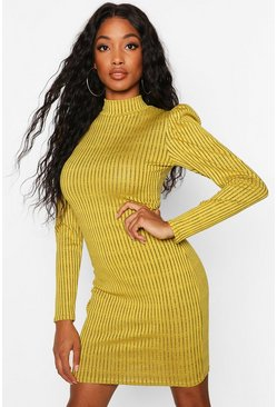 Dam Mustard Puff Shoulder High Neck Rib Bodycon Dress