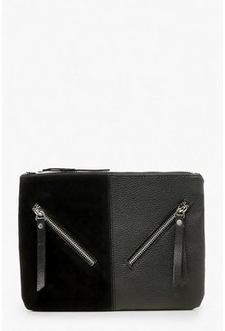 Womens Black Zip Detail Mix Fabric Clutch Bag