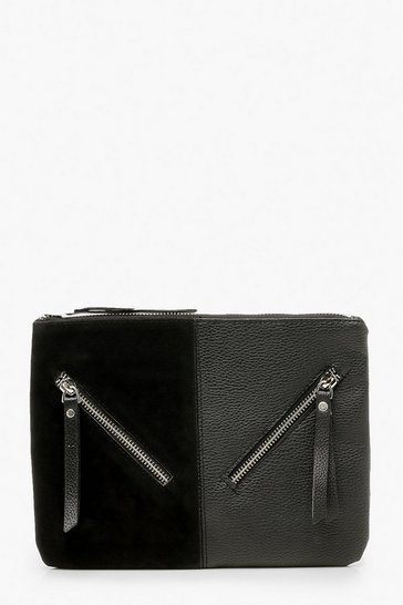 Black Zip Detail Mix Fabric Clutch Bag