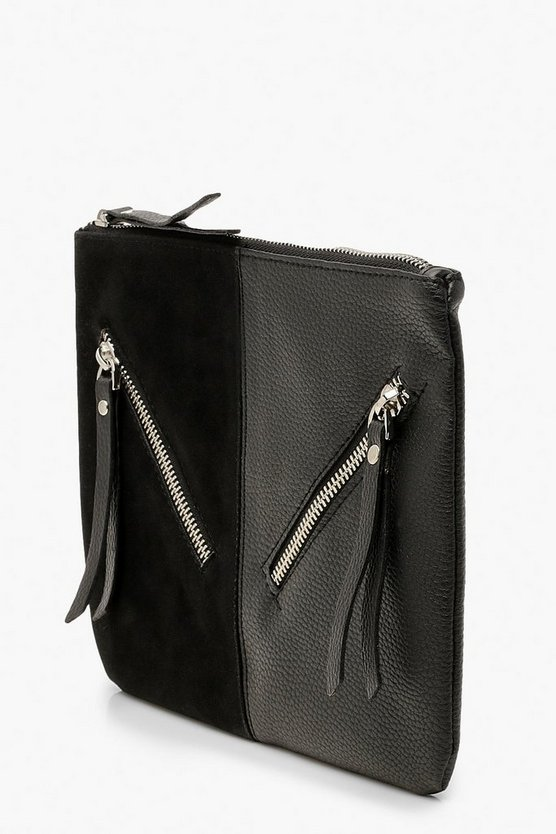 Zip Detail Mix Fabric Clutch Bag