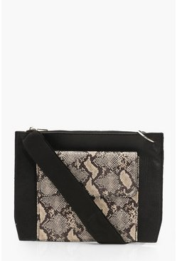 Black Snake Double Pocket Strap Cross Body Bag