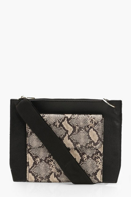 Snake Double Pocket Strap Cross Body Bag