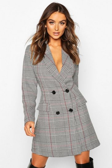 Grey Check Double Breasted Button Blazer Dress