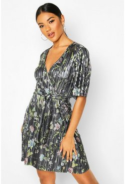 Gun metal Floral Plisse Wrap Tie Waist Tea Dress