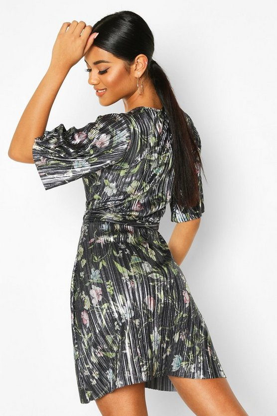 Floral Plisse Wrap Tie Waist Tea Dress
