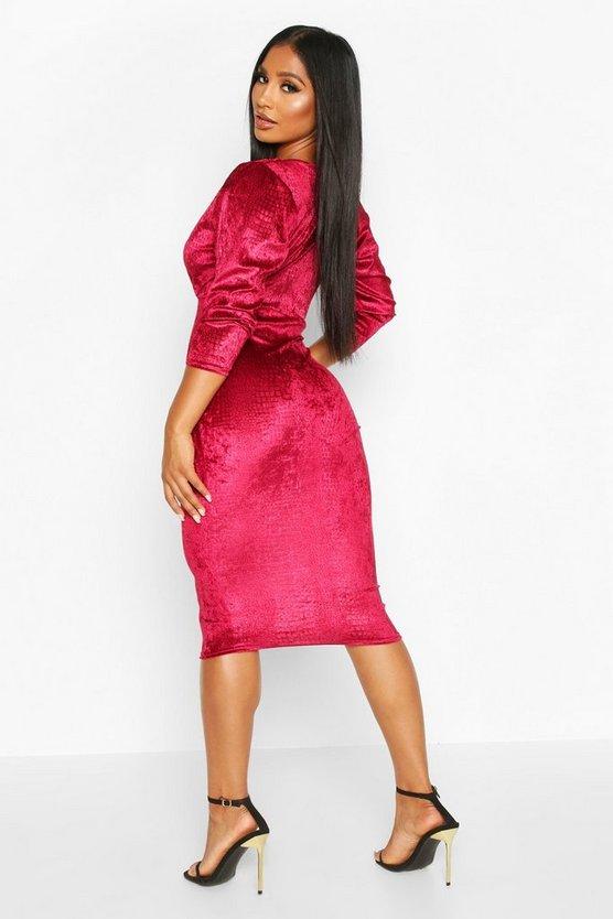 Velvet Croc Ruched Sleeve Midi Dress