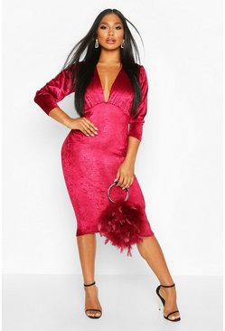 Magenta Velvet Croc Ruched Sleeve Midi Dress