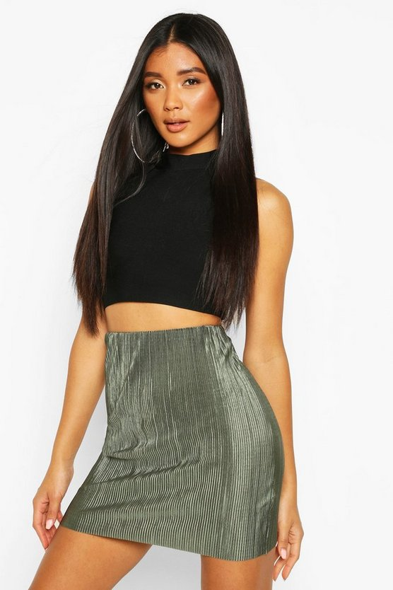 Khaki Plisse Mini Skirt