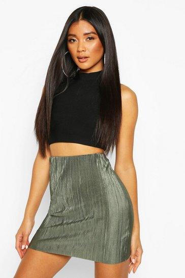 Womens Khaki Plisse Mini Skirt