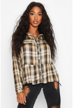 Womens Camel Check Pocket Detail Smock