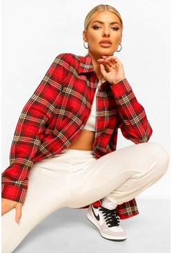 Oversized Brushed Check Boyfriend T-Shirt, Red