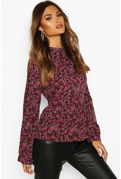 Berry Ditsy Floral Ruffle Top