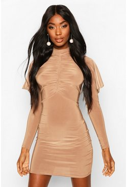 Womens Camel High Neck Ruched Front Mini Bodycon Dress