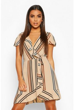 Womens Stone Stripe Ruffle Detail Tea Dress