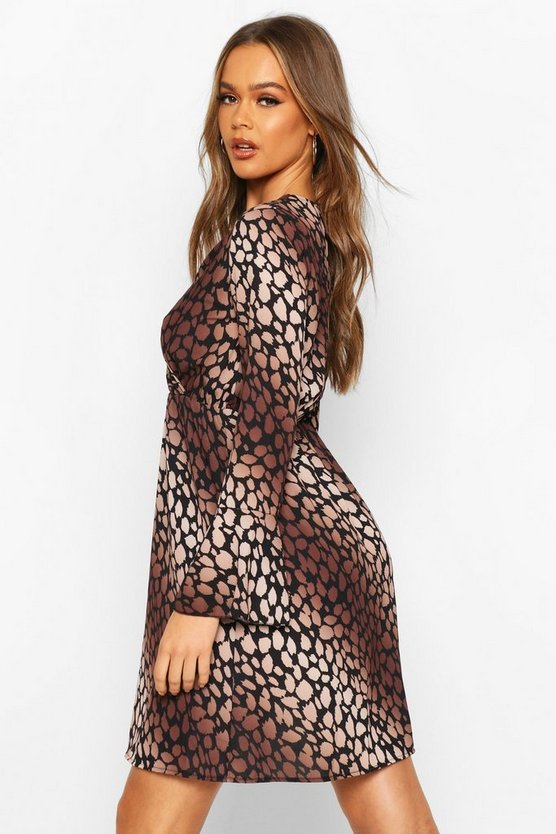 Leopard Print Flared Sleeve Tea Dress
