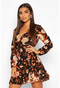 Black Floral Ruffle Wrap Long Sleeve Tea Dress