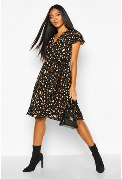 Woven Spot Wrap Midi Tea Dress, Black
