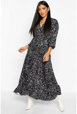 Womens Black Floral Tie Waist Frill Hem Maxi Dress