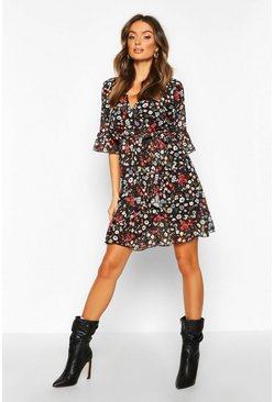 Womens Black Woven Floral Frill Sleeve Tea Dress