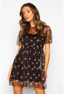 Womens Black Spot Print Mesh Smock Dress