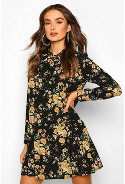 Black Floral Print Tie Neck Drop Hem Smock Dress