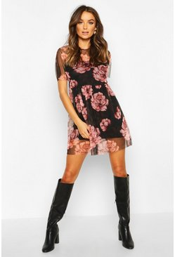Black Large Rose Print Mesh Smock Dress