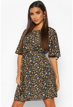 Woven Floral Angel Sleeve Skater Dress, Black