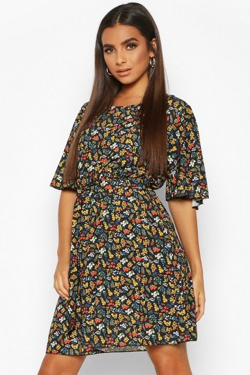 Womens Black Woven Floral Angel Sleeve Skater Dress