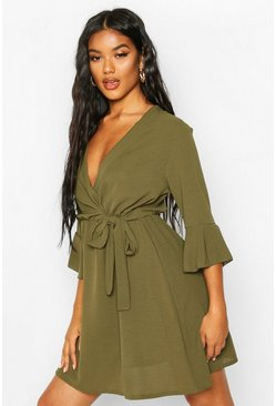 Khaki Woven Wrap Button Detail Skater Dress