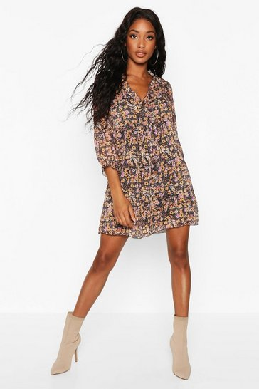 Womens Black Woven Floral Plunge Ruffle Smock Dress