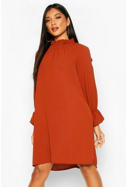 Womens Rust Woven Rouche High Neck Shift Dress