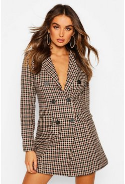 Brown Tonal Check Double Breasted Blazer Dress