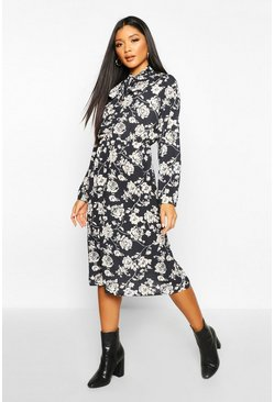 Womens Black Floral Tie Neck Midi Dress