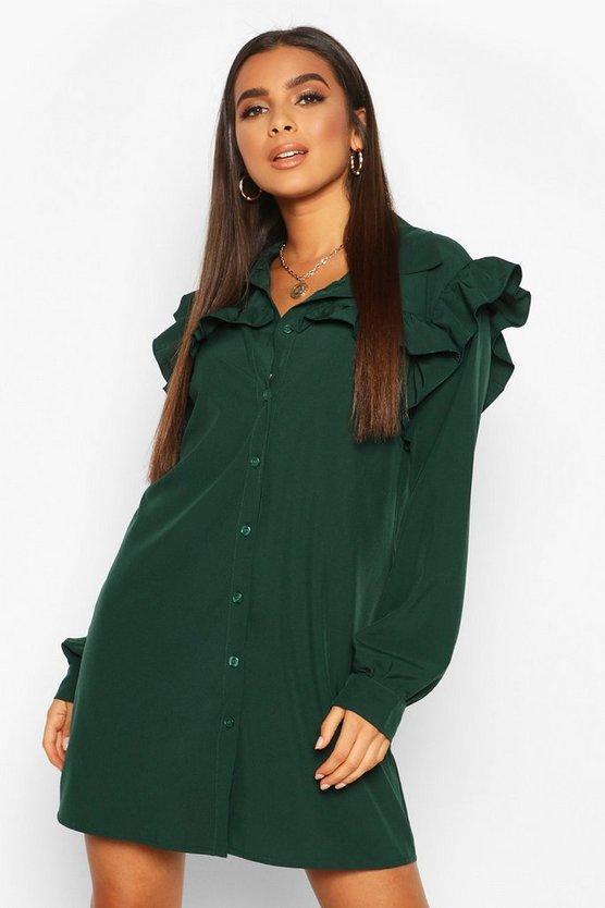 Woven Ruffle Detail Shirt Dress