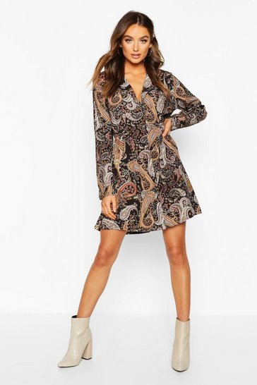 Black Woven Paisley Shirt Dress