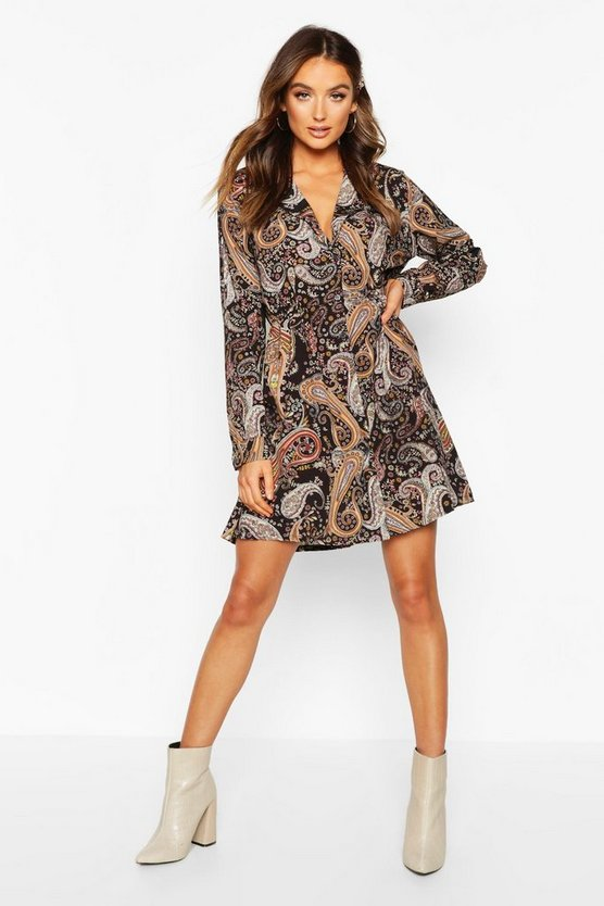Woven Paisley Shirt Dress