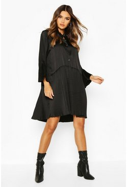 Womens Black Satin Pleated Hem And Sleeve Smock Dress
