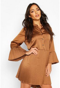 Mocha Satin Pleated Hem And Sleeve Smock Dress