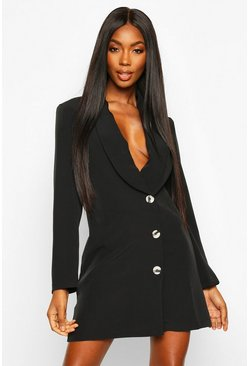 Womens Black Woven Button Front Blazer Dress