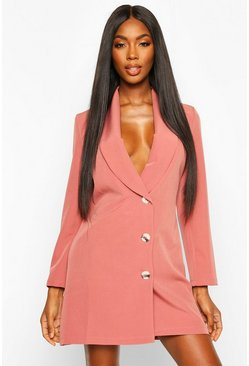 Rose Woven Button Front Blazer Dress