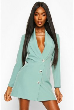 Womens Sage Woven Button Front Blazer Dress