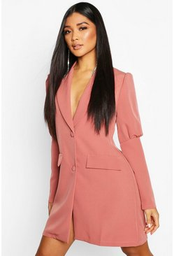 Womens Rose Woven Puff Sleeve Blazer Dress