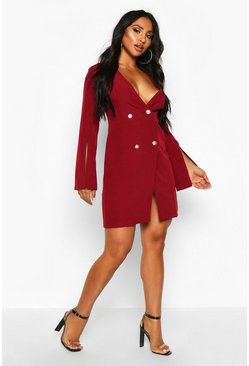 Berry Woven Double Breasted Split Sleeve Blazer Dress